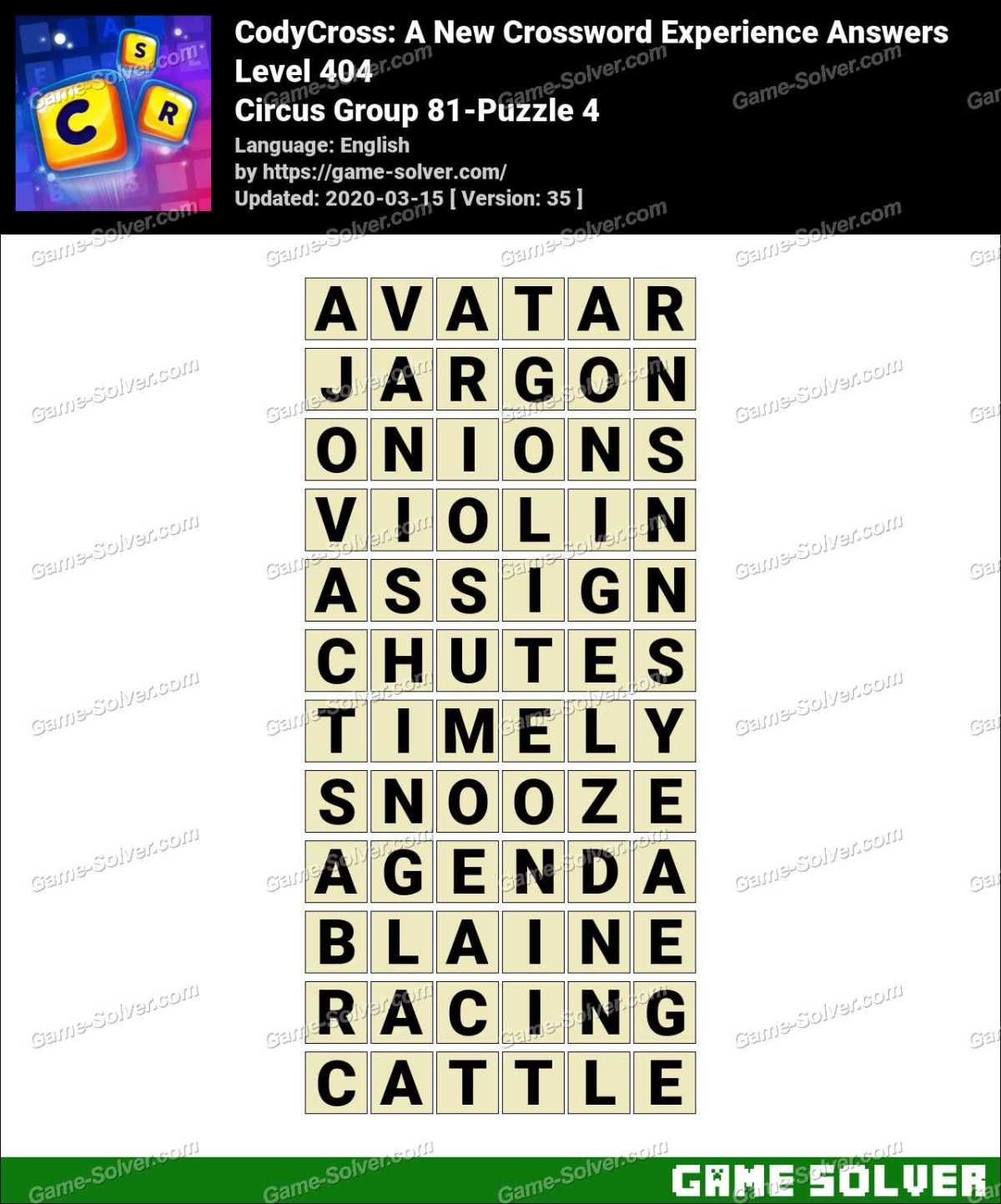 CodyCross Circus Group 81-Puzzle 4 Answers