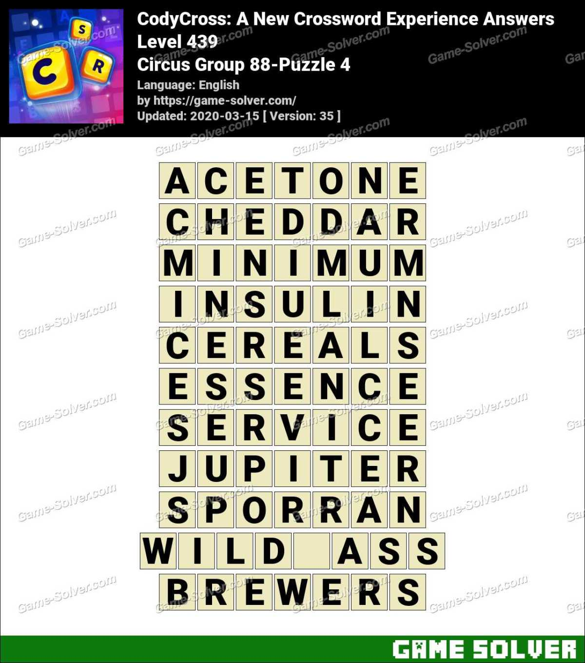 CodyCross Circus Group 88-Puzzle 4 Answers