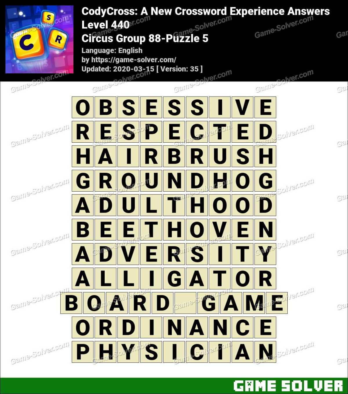 CodyCross Circus Group 88-Puzzle 5 Answers