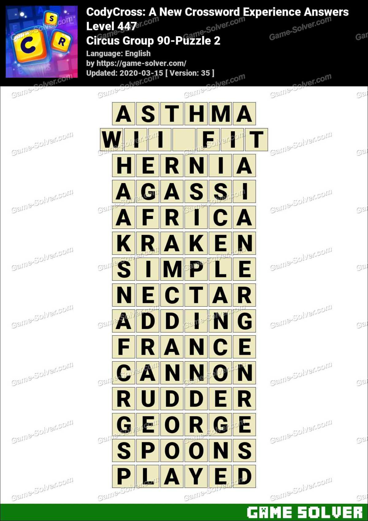 CodyCross Circus Group 90-Puzzle 2 Answers