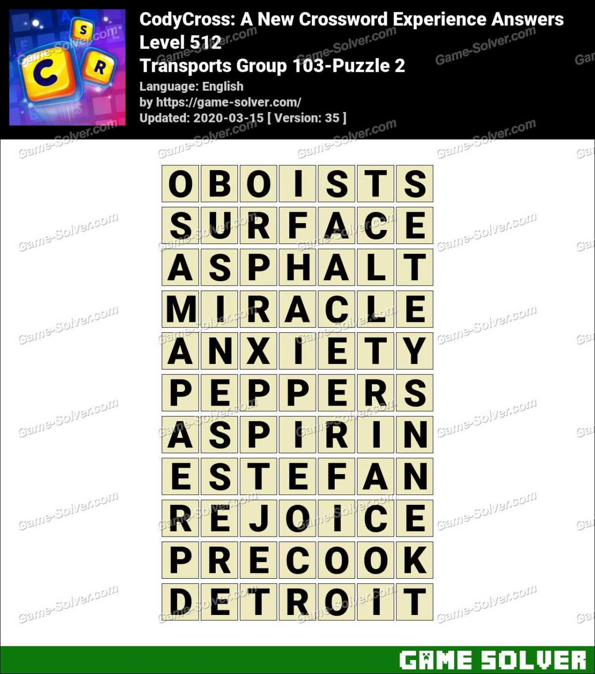 CodyCross Transports Group 103-Puzzle 2 Answers