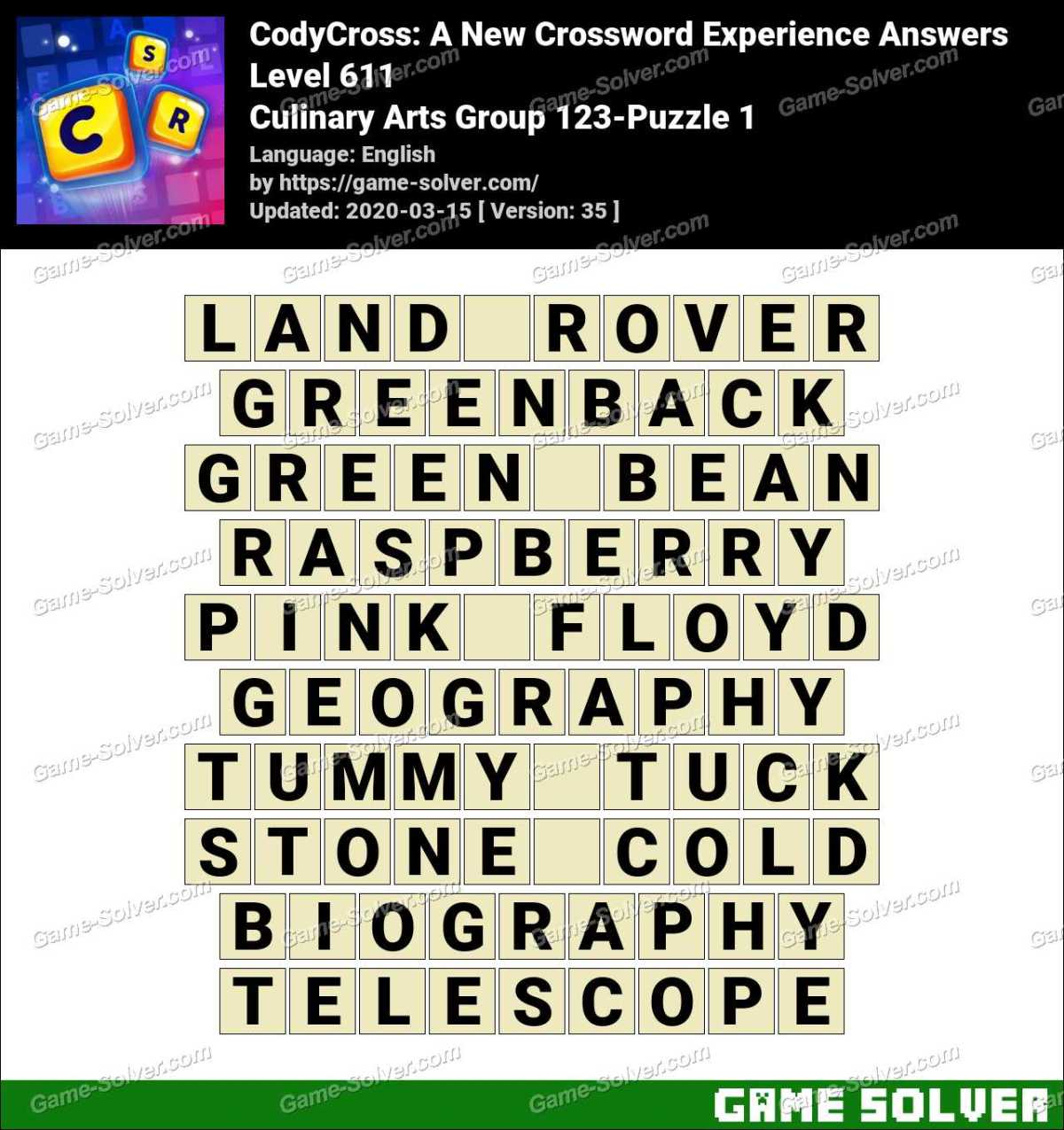 CodyCross Culinary Arts Group 123-Puzzle 1 Answers