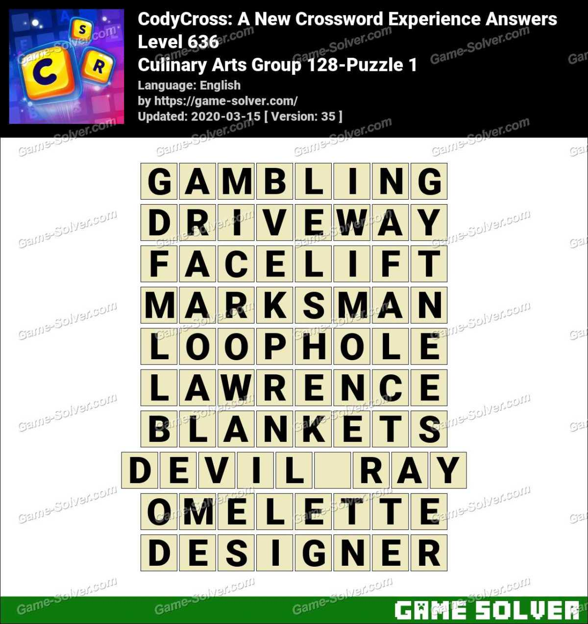 CodyCross Culinary Arts Group 128-Puzzle 1 Answers