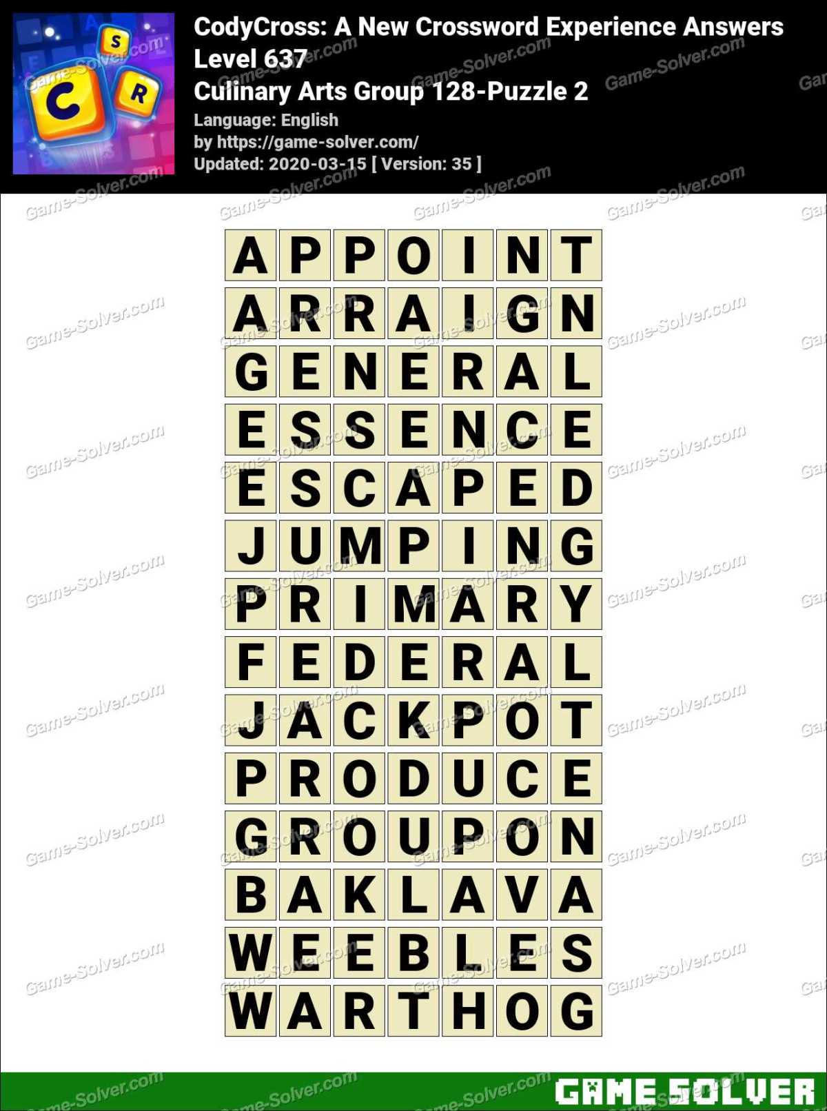 CodyCross Culinary Arts Group 128-Puzzle 2 Answers