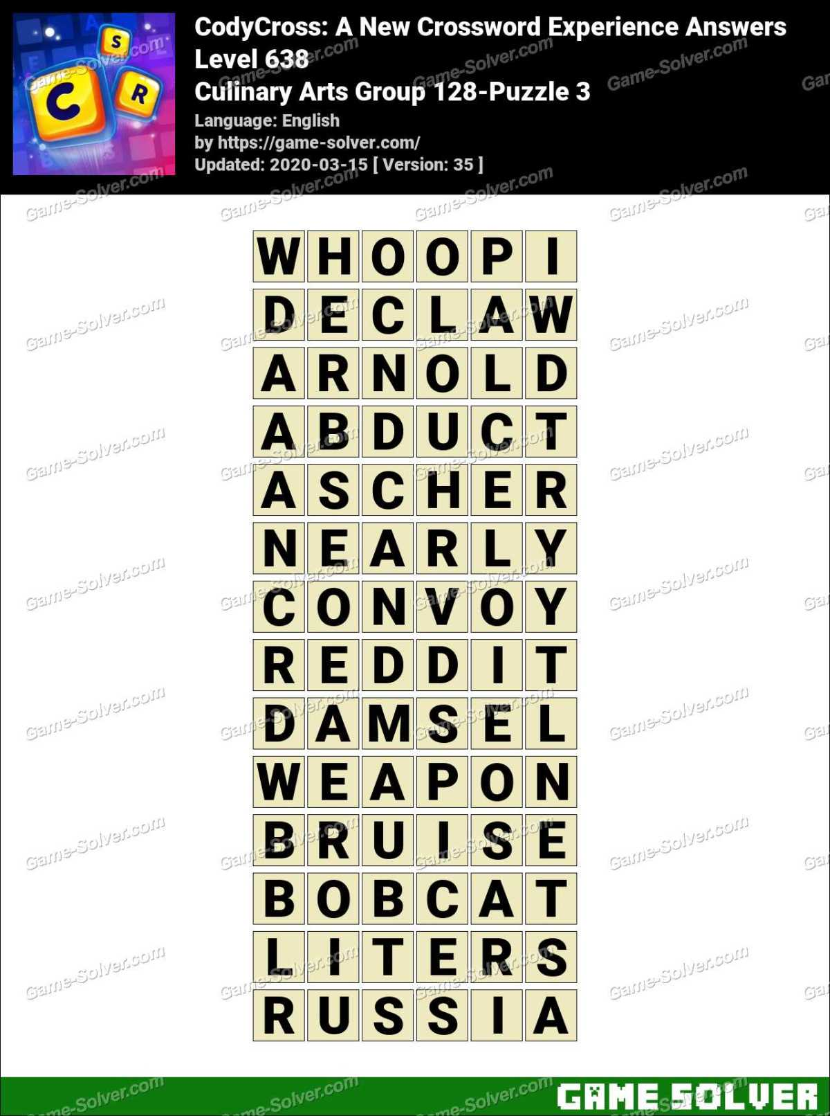 CodyCross Culinary Arts Group 128-Puzzle 3 Answers