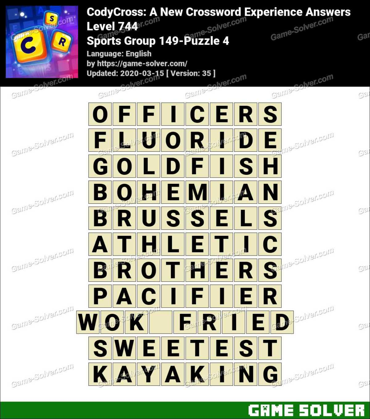 CodyCross Sports Group 149-Puzzle 4 Answers