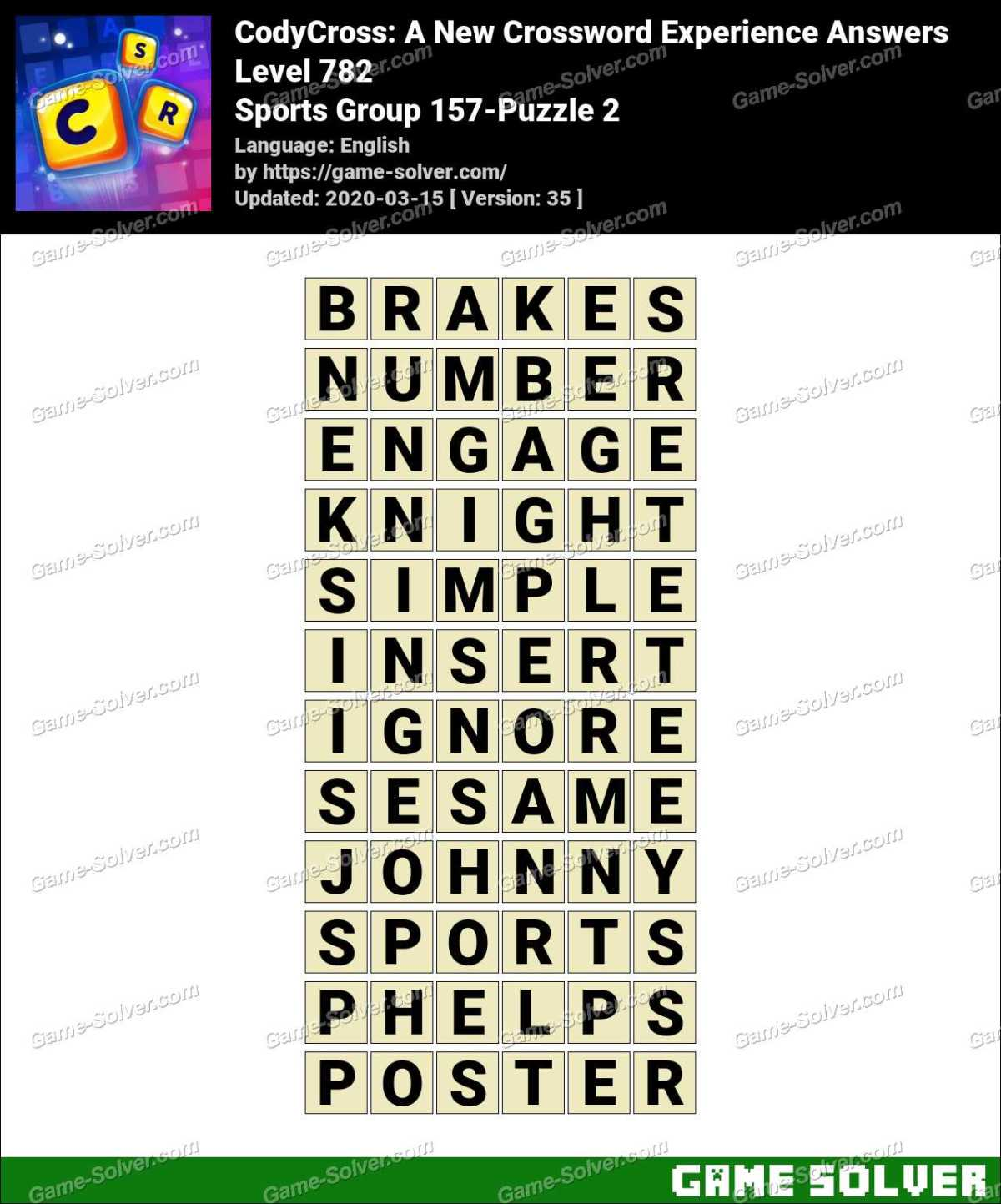 CodyCross Sports Group 157-Puzzle 2 Answers