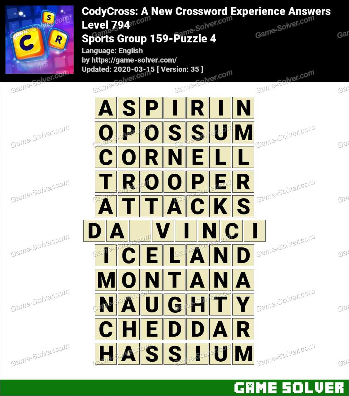 CodyCross Sports Group 159-Puzzle 4 Answers