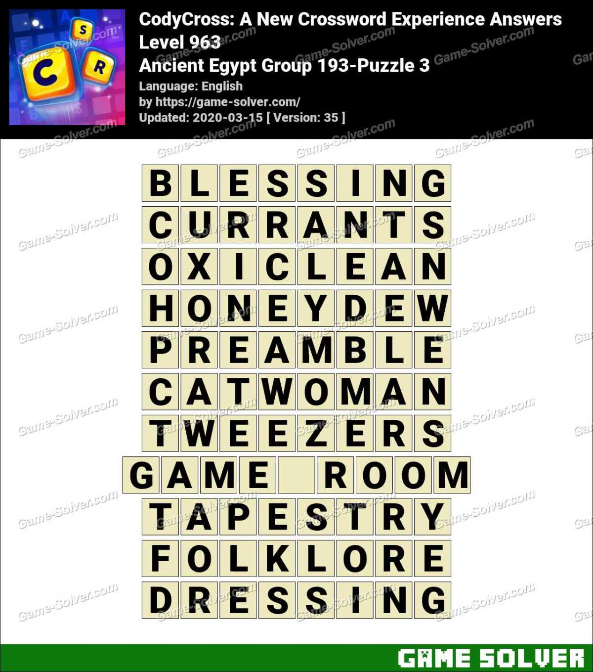 CodyCross Ancient Egypt Group 193-Puzzle 3 Answers
