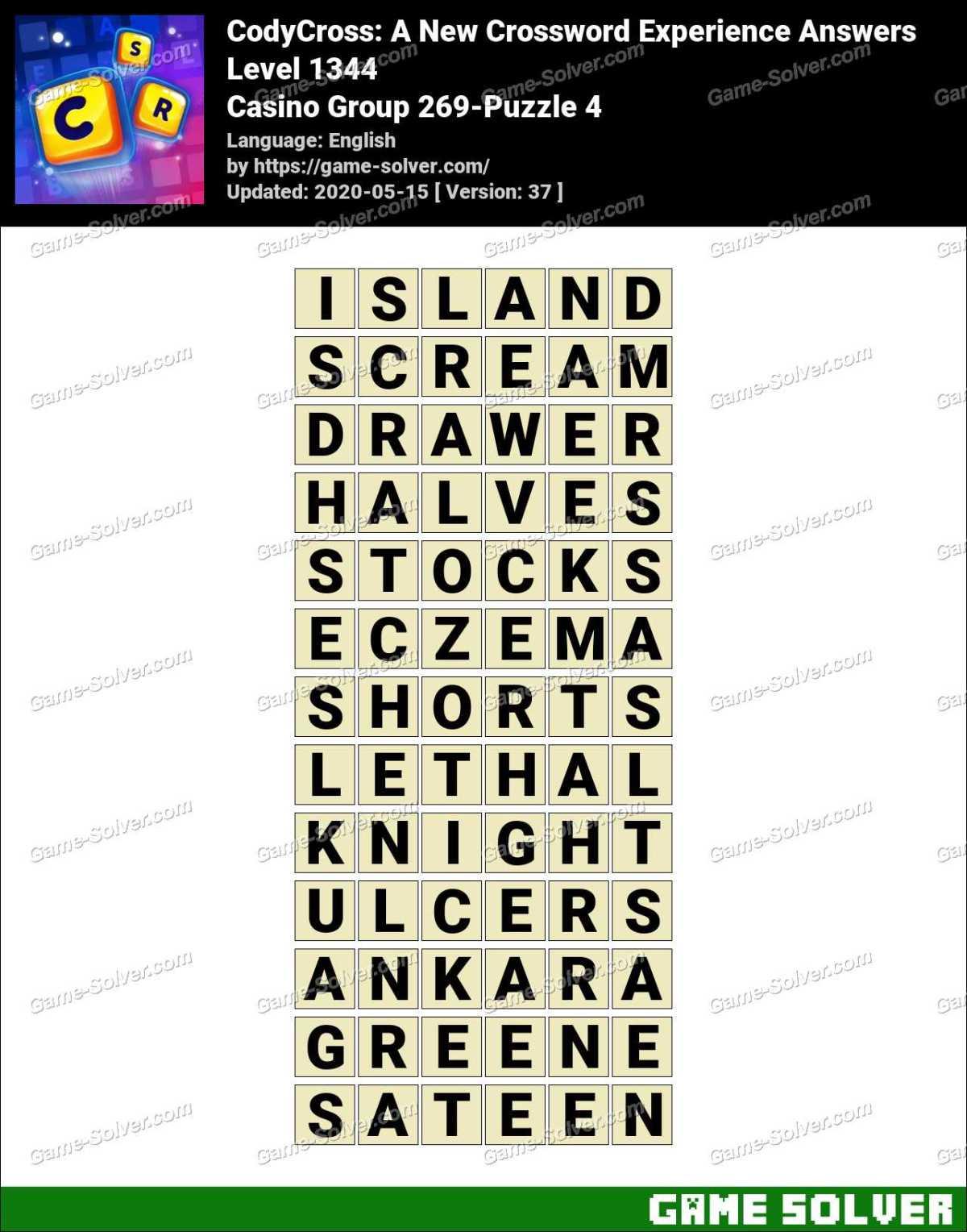 CodyCross Casino Group 269-Puzzle 4 Answers