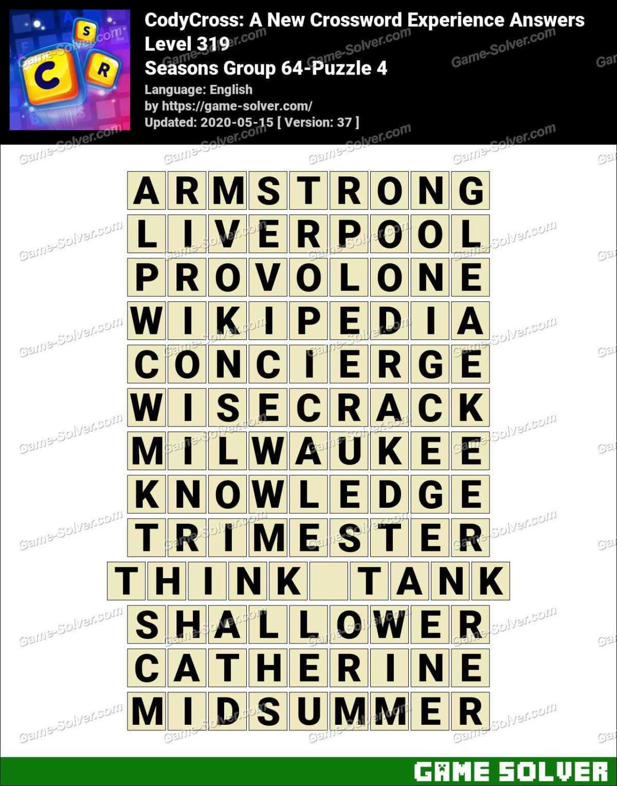 CodyCross Seasons Group 64-Puzzle 4 Answers
