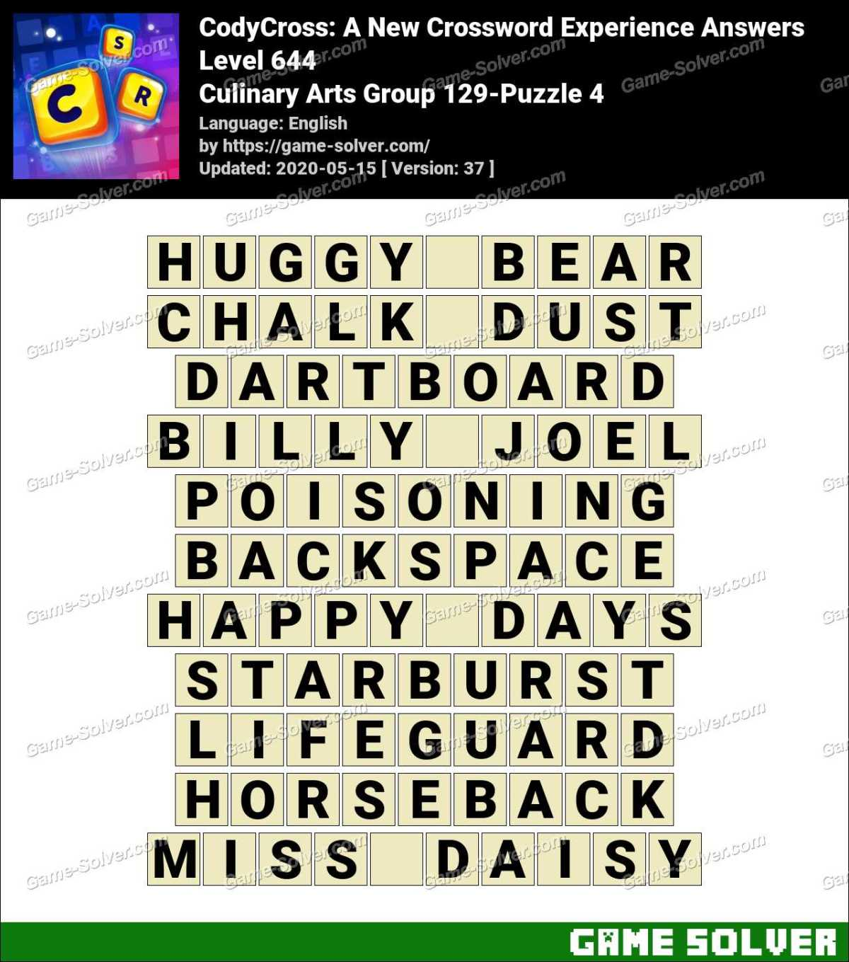 CodyCross Culinary Arts Group 129-Puzzle 4 Answers