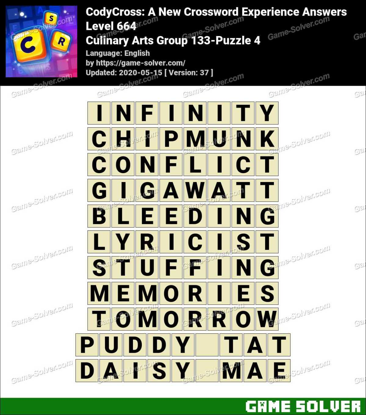 CodyCross Culinary Arts Group 133-Puzzle 4 Answers