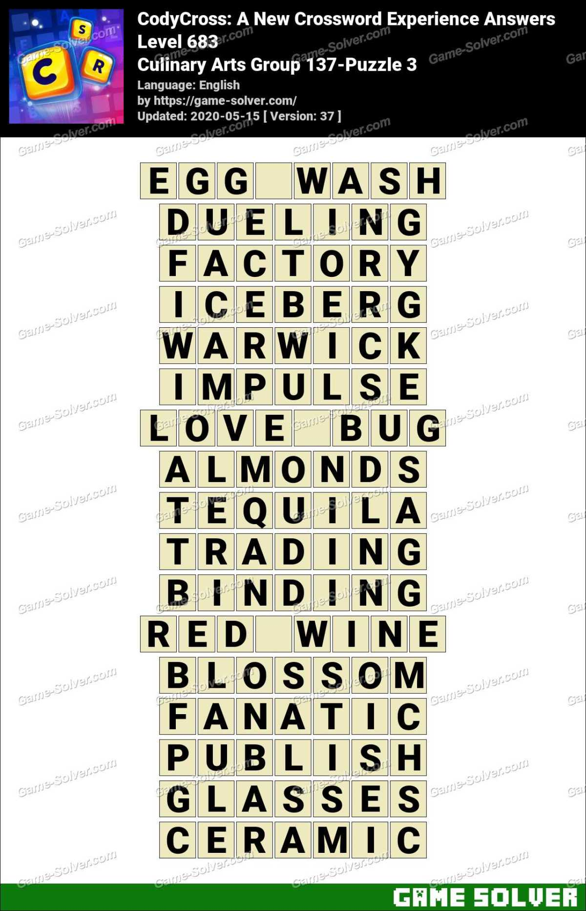 CodyCross Culinary Arts Group 137-Puzzle 3 Answers