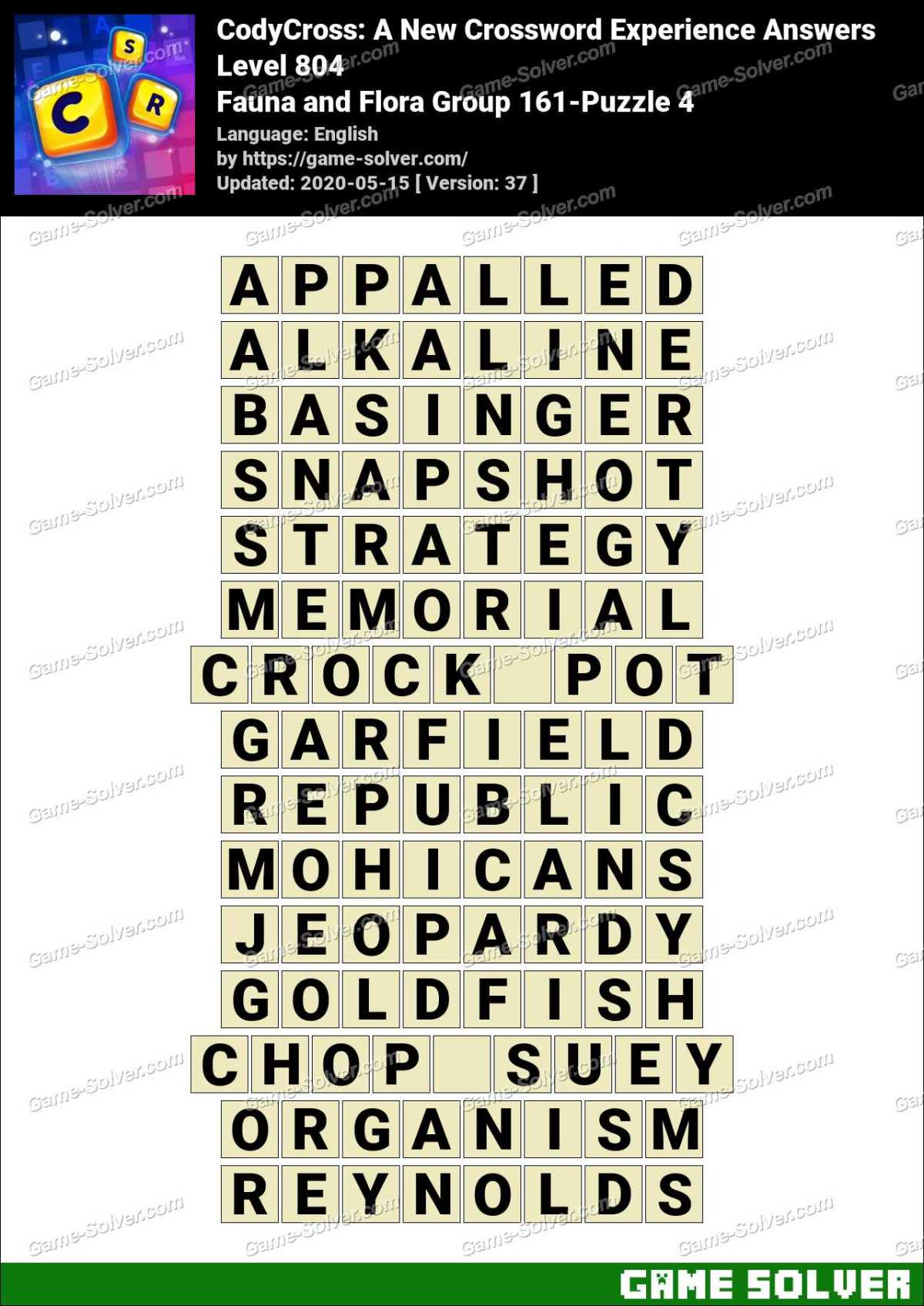 CodyCross Fauna and Flora Group 161-Puzzle 4 Answers