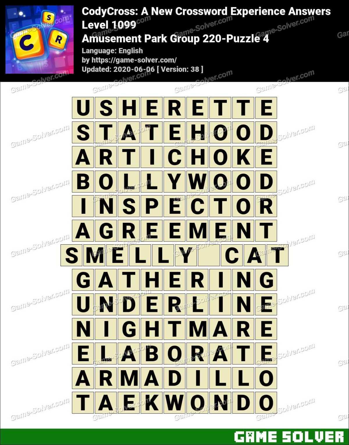 CodyCross Amusement Park Group 220-Puzzle 4 Answers