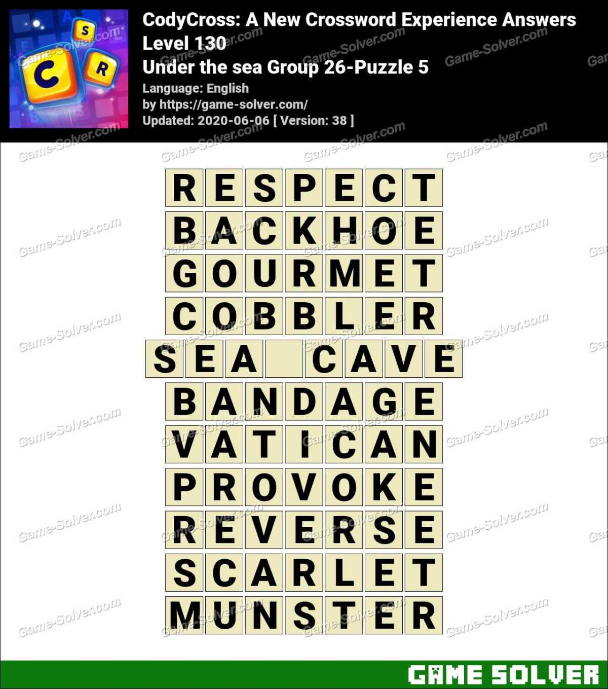 CodyCross Under the sea Group 26-Puzzle 5 Answers