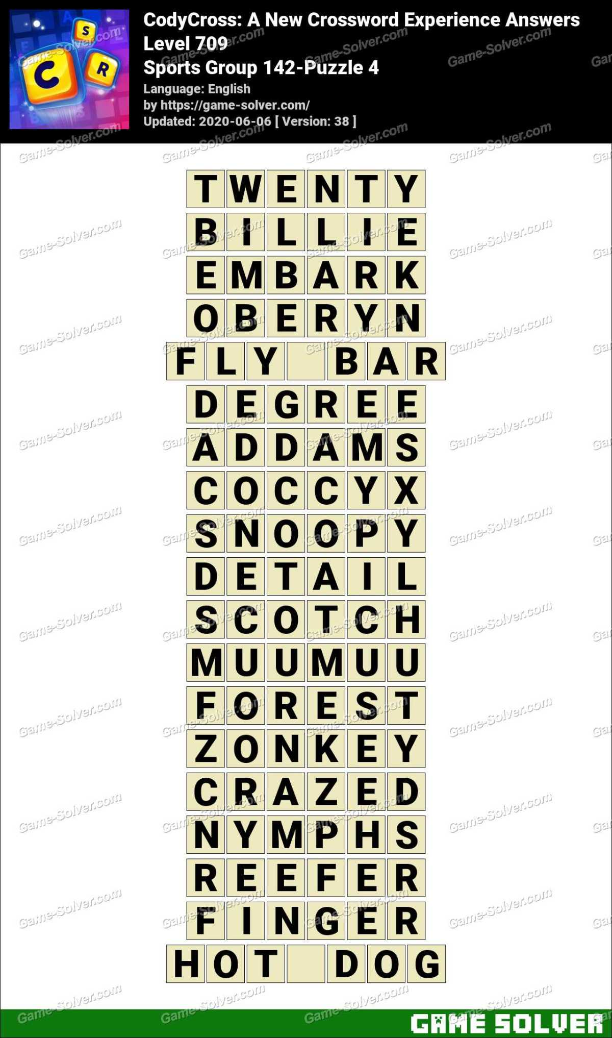 CodyCross Sports Group 142-Puzzle 4 Answers