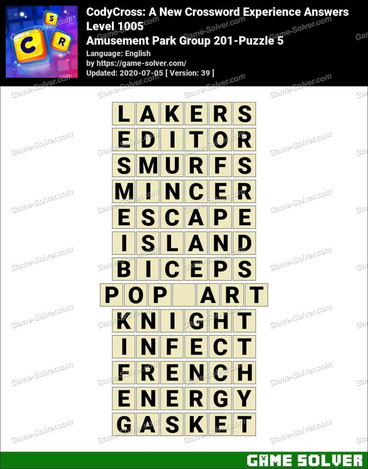 CodyCross Amusement Park Group 201-Puzzle 5 Answers