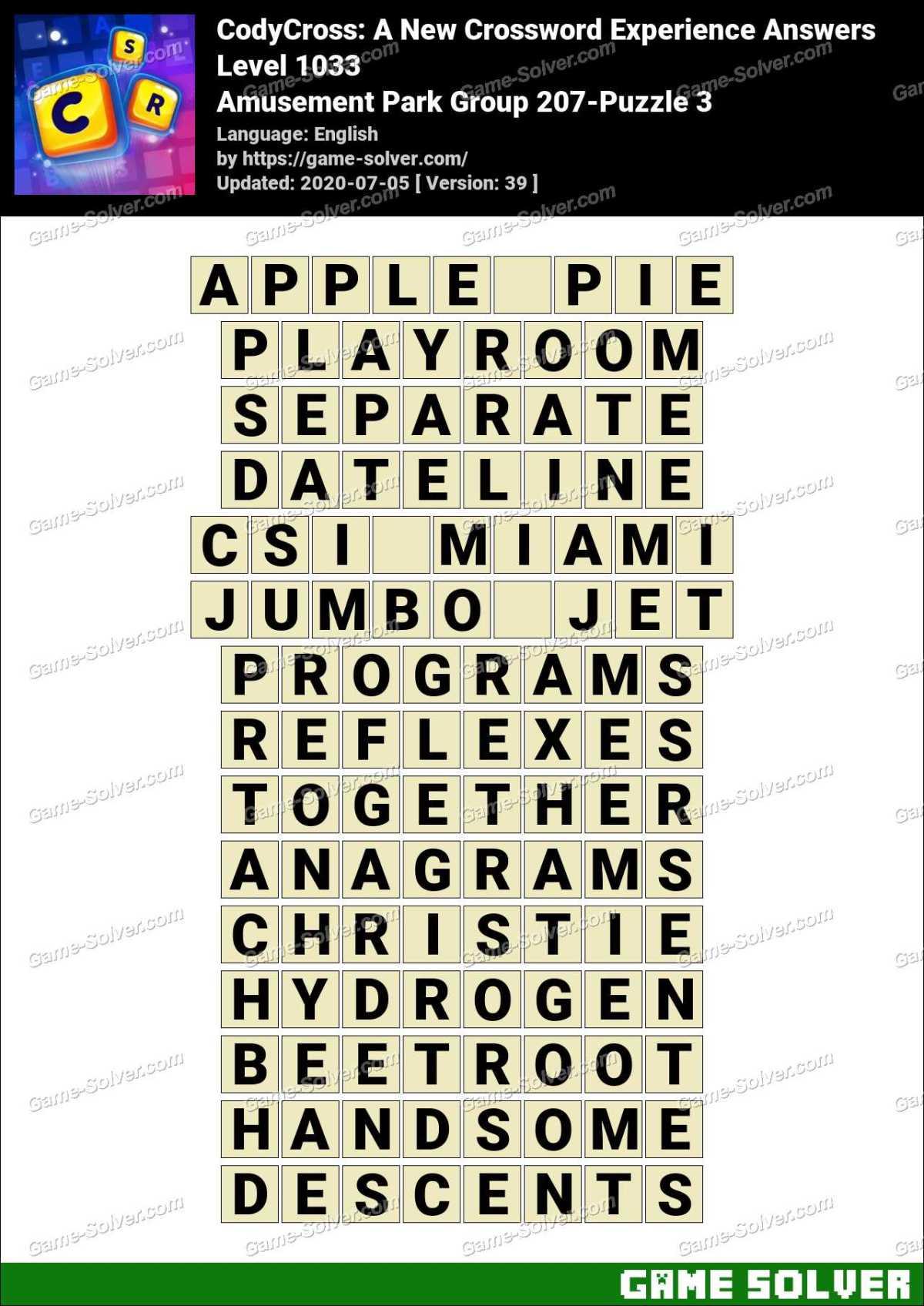 CodyCross Amusement Park Group 207-Puzzle 3 Answers