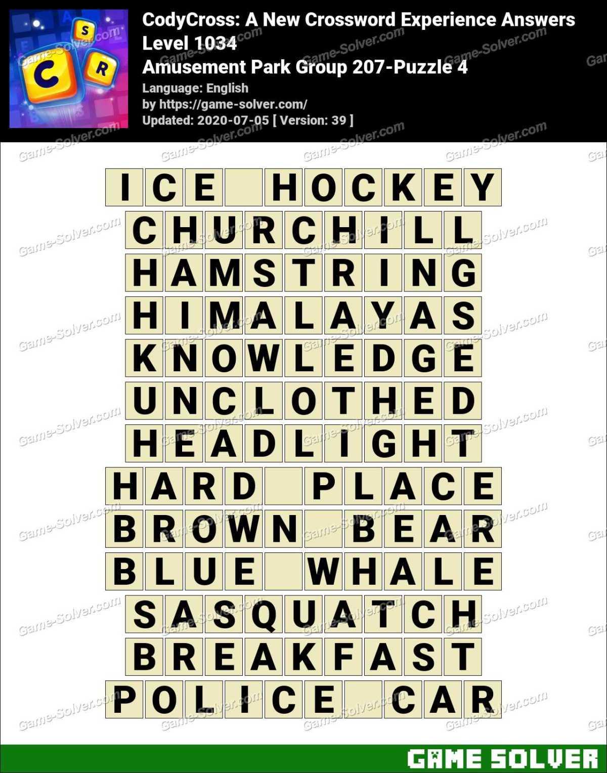 CodyCross Amusement Park Group 207-Puzzle 4 Answers