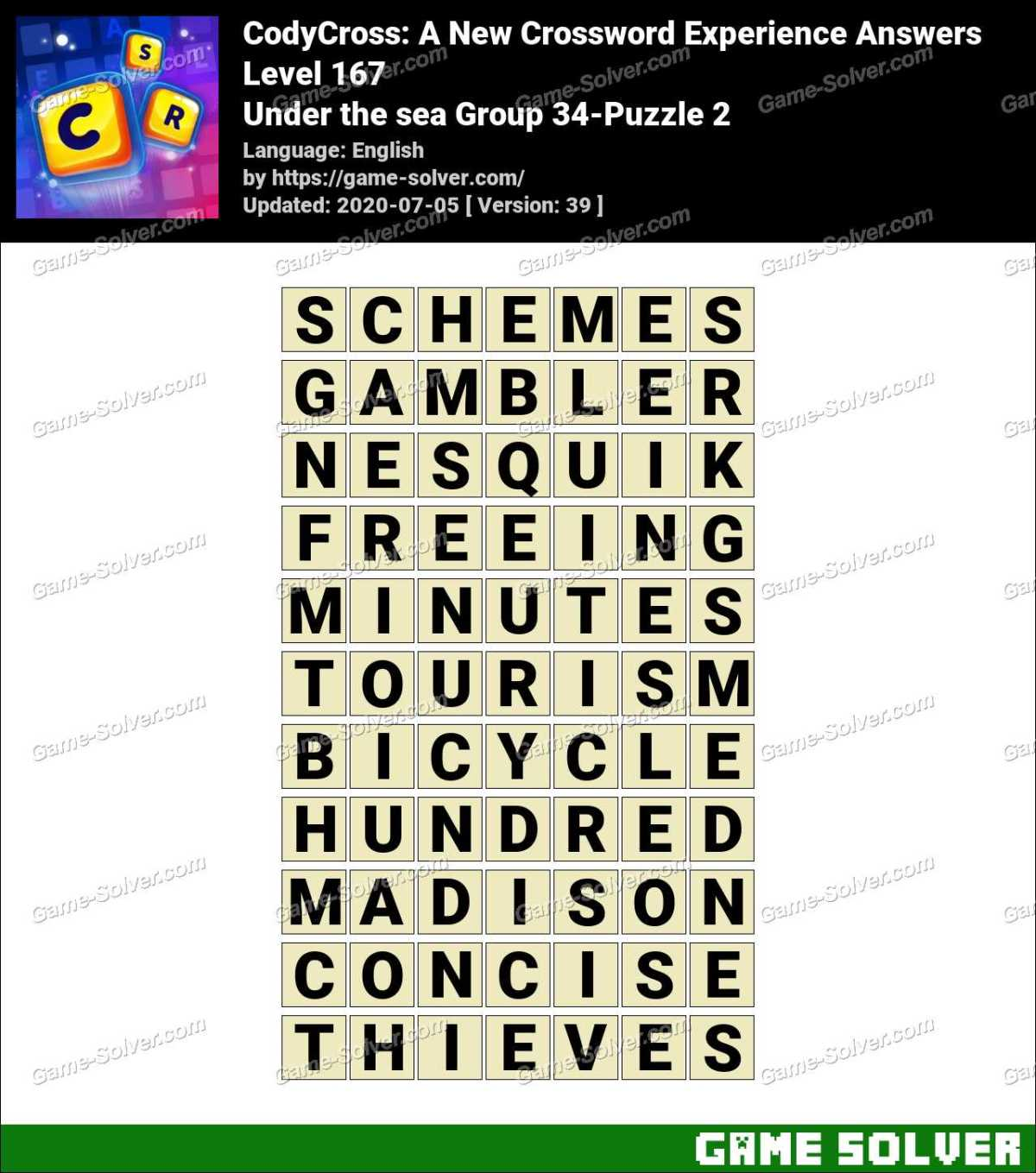 CodyCross Under the sea Group 34-Puzzle 2 Answers