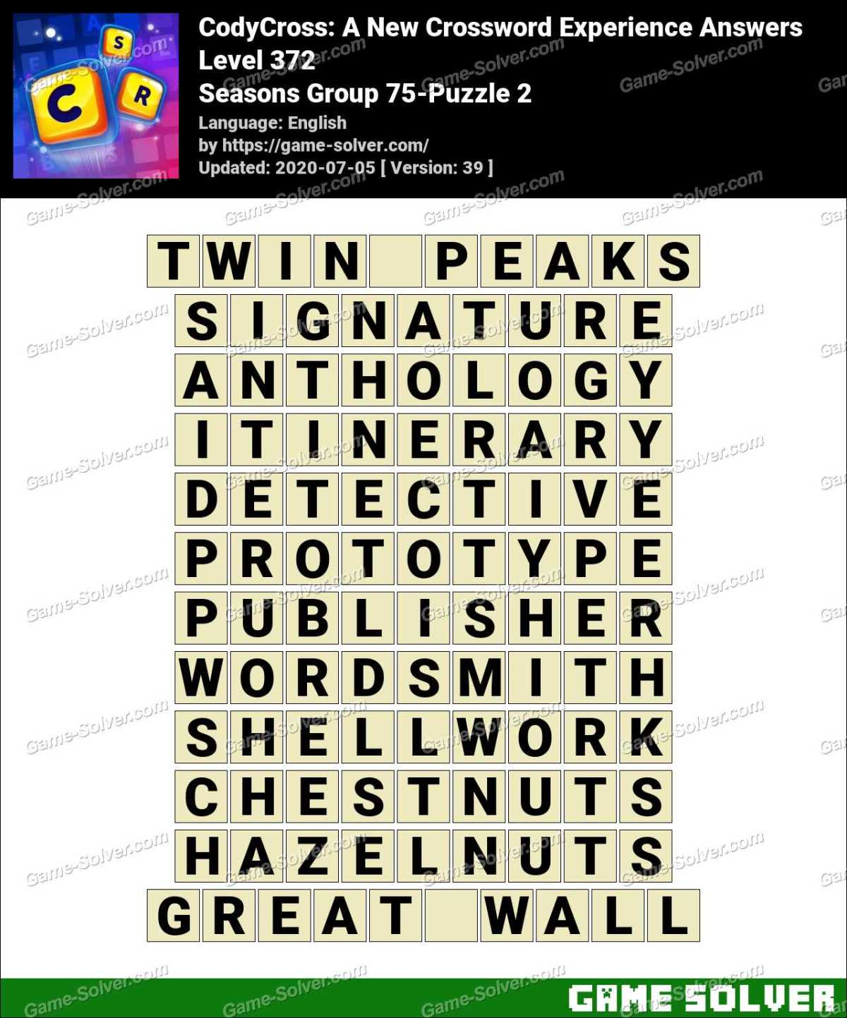 CodyCross Seasons Group 75-Puzzle 2 Answers