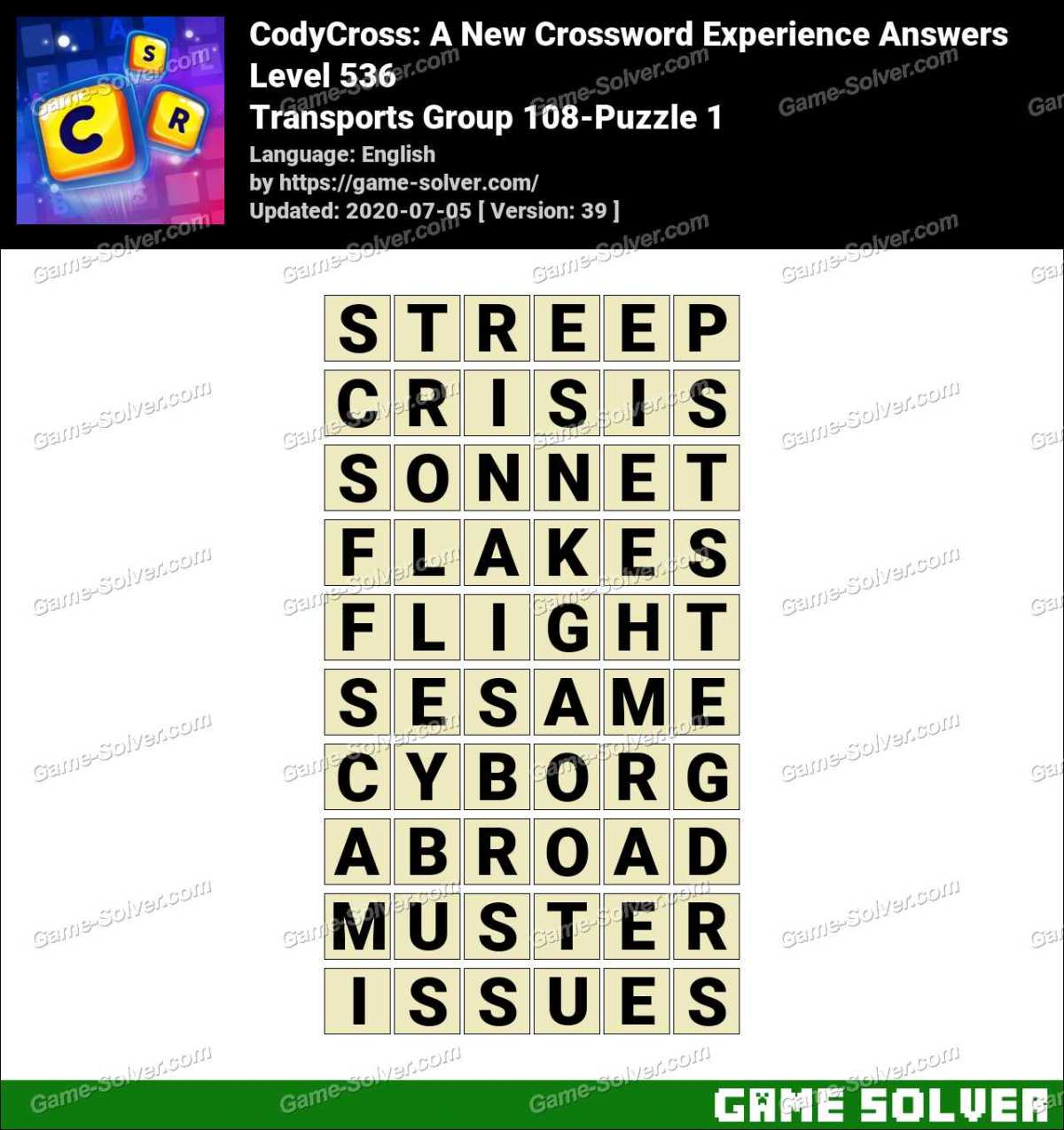 CodyCross Transports Group 108-Puzzle 1 Answers