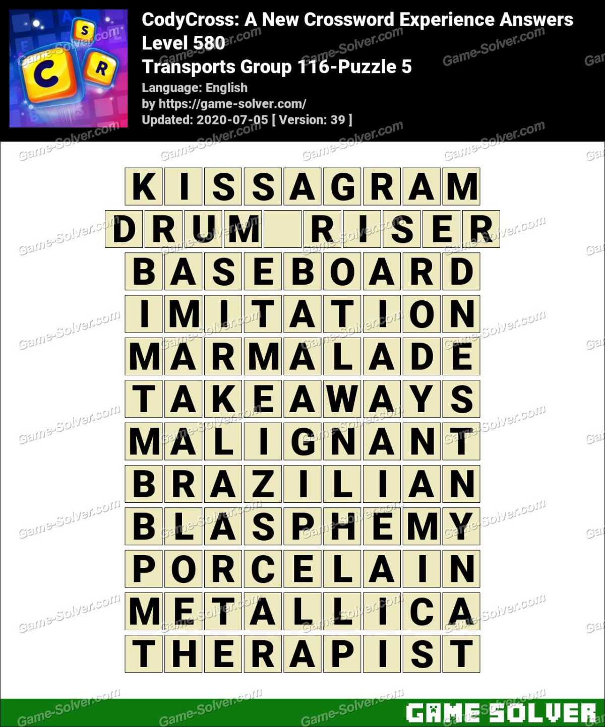 CodyCross Transports Group 116-Puzzle 5 Answers