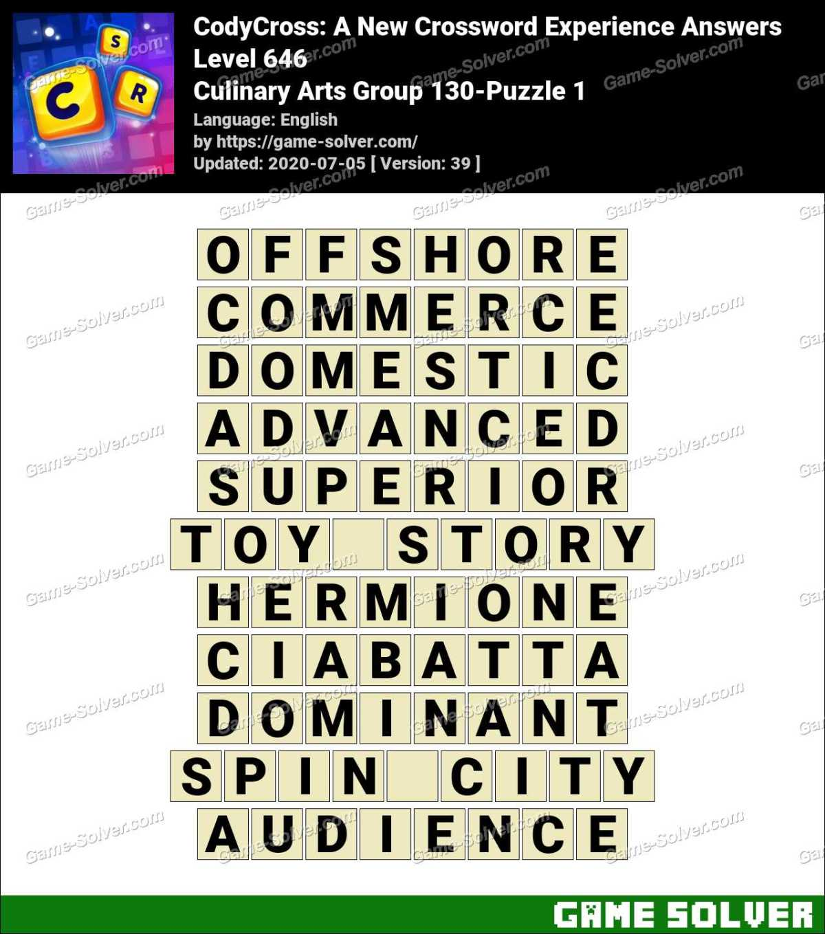 CodyCross Culinary Arts Group 130-Puzzle 1 Answers