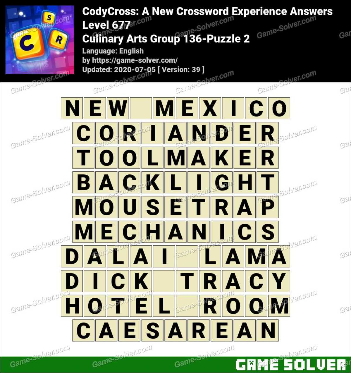 CodyCross Culinary Arts Group 136-Puzzle 2 Answers