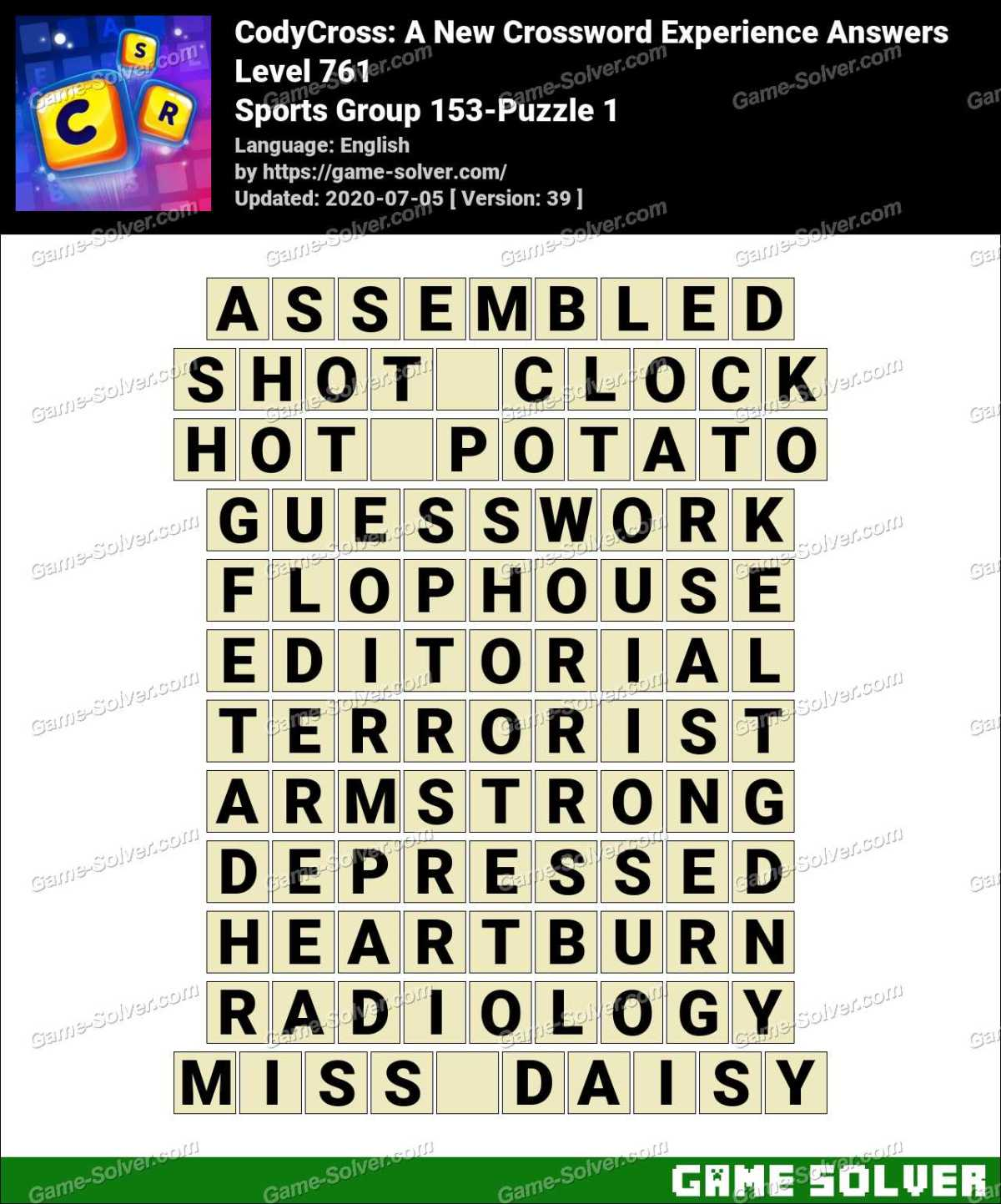 CodyCross Sports Group 153-Puzzle 1 Answers