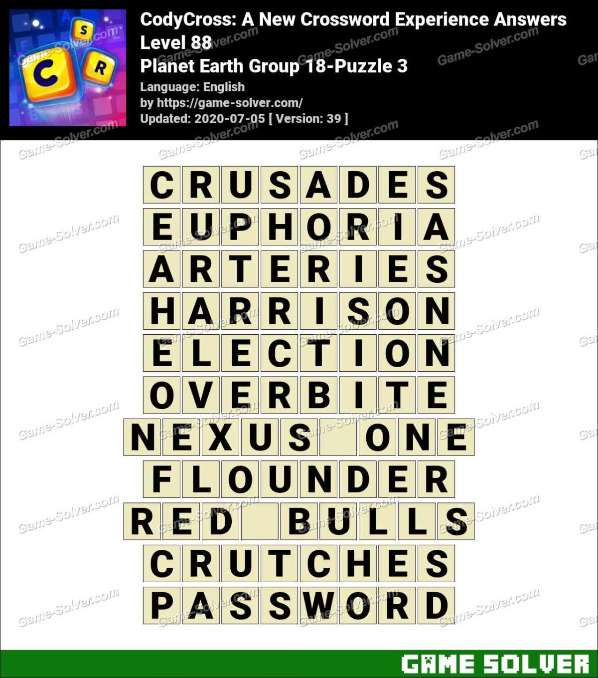 CodyCross Planet Earth Group 18-Puzzle 3 Answers