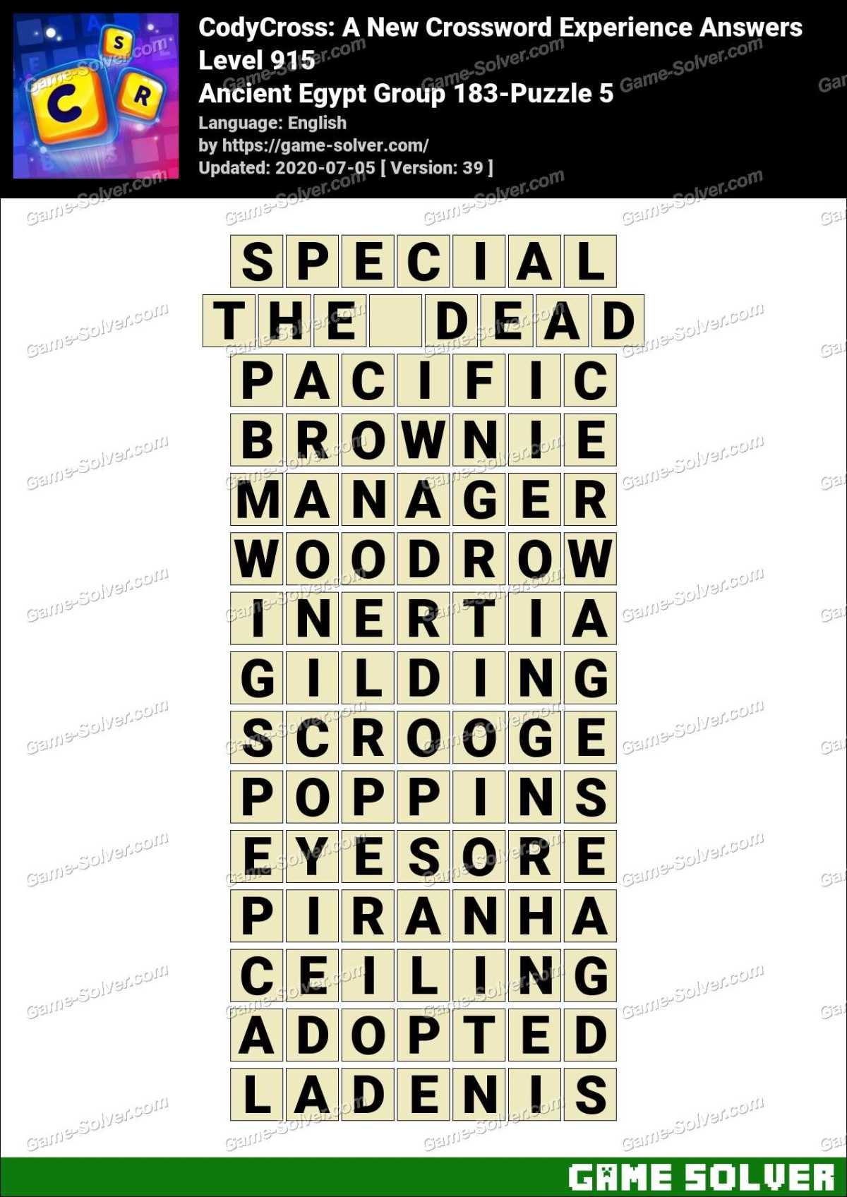 CodyCross Ancient Egypt Group 183-Puzzle 5 Answers