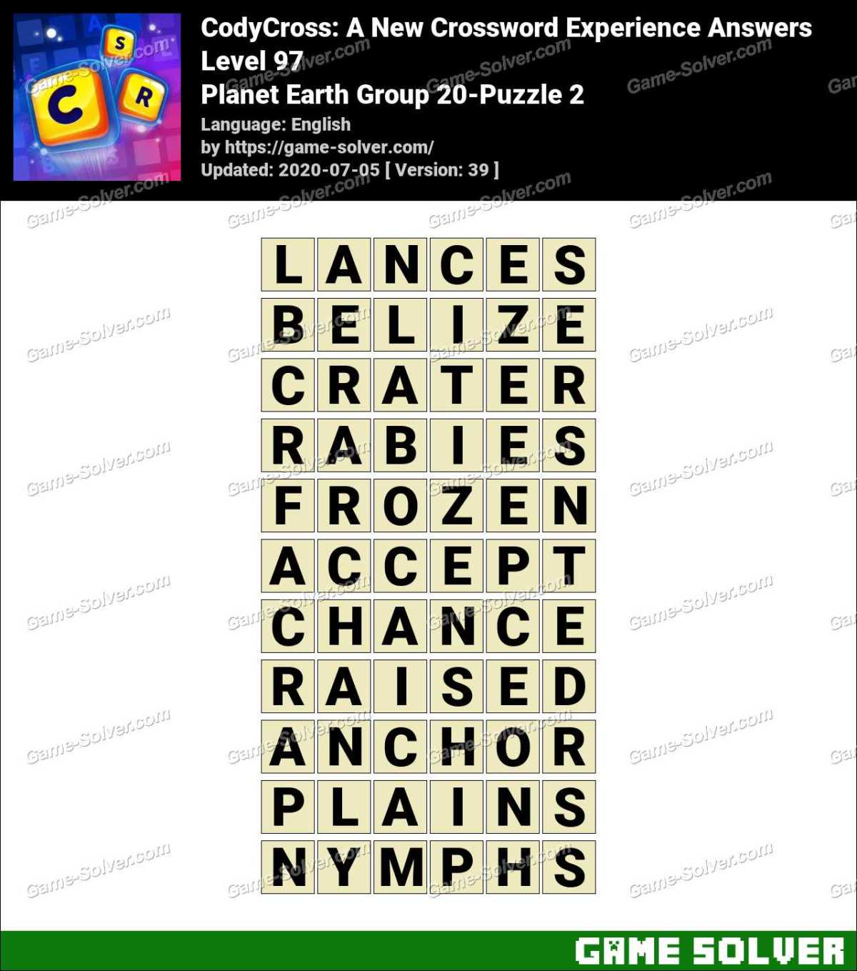 CodyCross Planet Earth Group 20-Puzzle 2 Answers