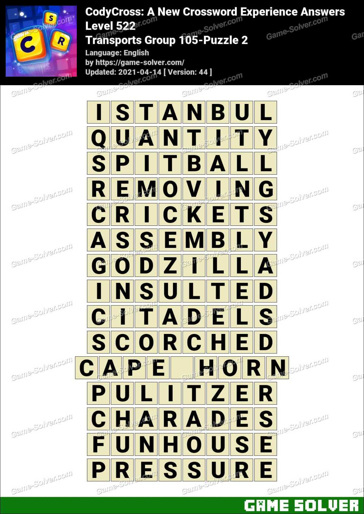 CodyCross Transports Group 105-Puzzle 2 Answers