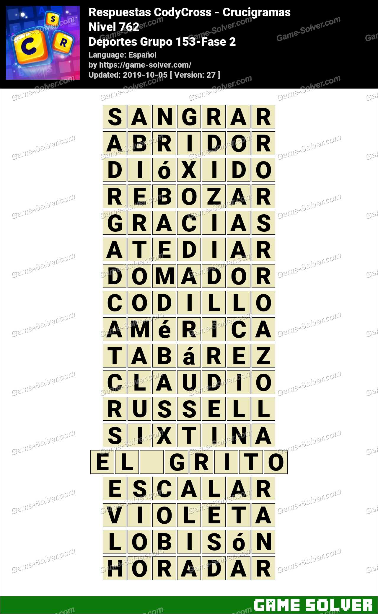 Respuestas CodyCross Deportes Grupo 153-Fase 2