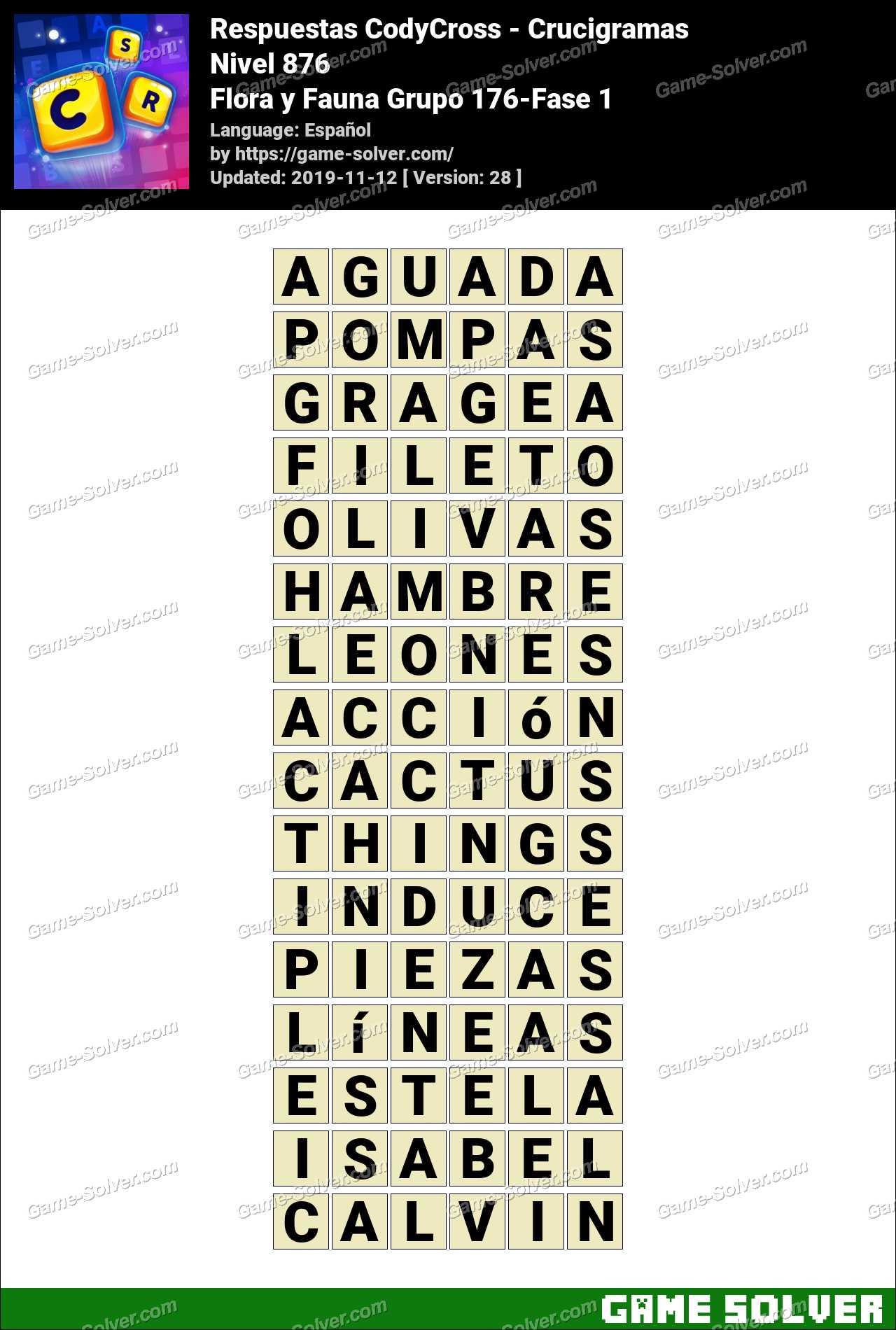 Respuestas CodyCross Flora y Fauna Grupo 176-Fase 1