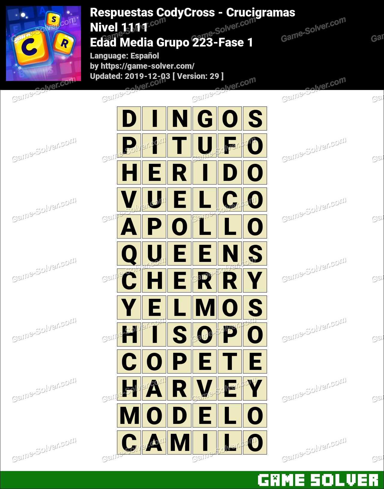 Respuestas CodyCross Edad Media Grupo 223-Fase 1