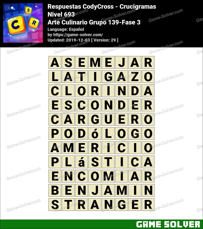 Respuestas CodyCross Arte Culinario Grupo 139-Fase 3