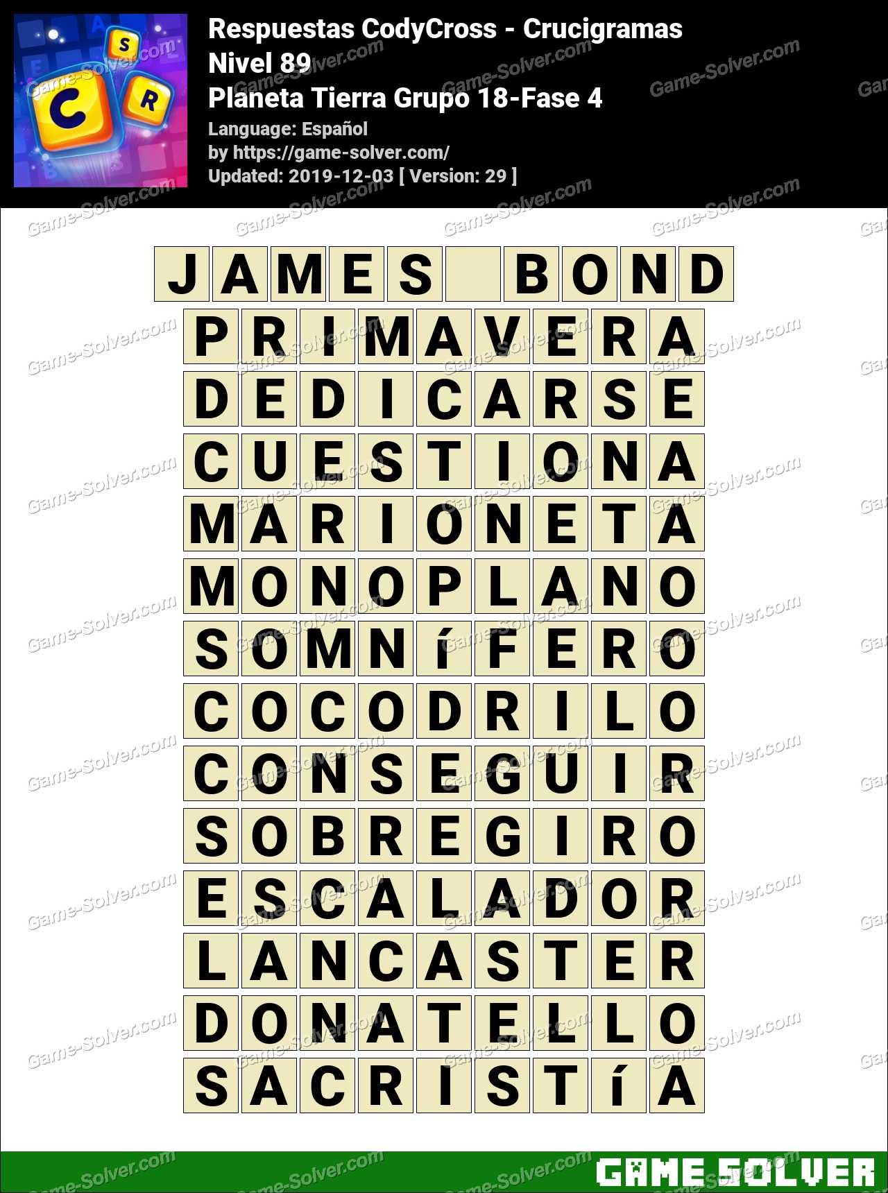 Respuestas CodyCross Planeta Tierra Grupo 18-Fase 4