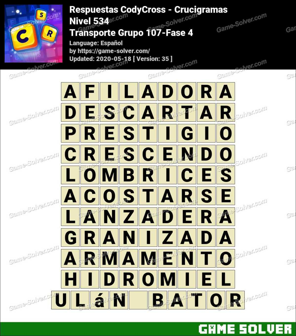 Respuestas CodyCross Transporte Grupo 107-Fase 4