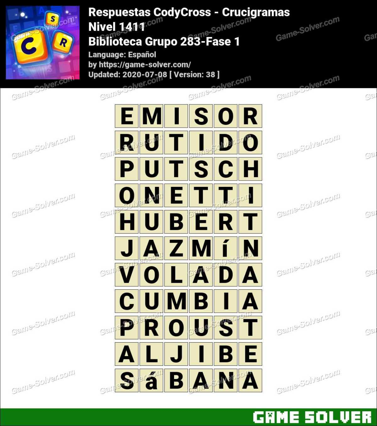 Respuestas CodyCross Biblioteca Grupo 283-Fase 1