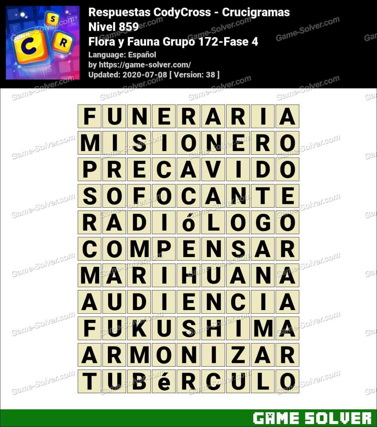Respuestas CodyCross Flora y Fauna Grupo 172-Fase 4