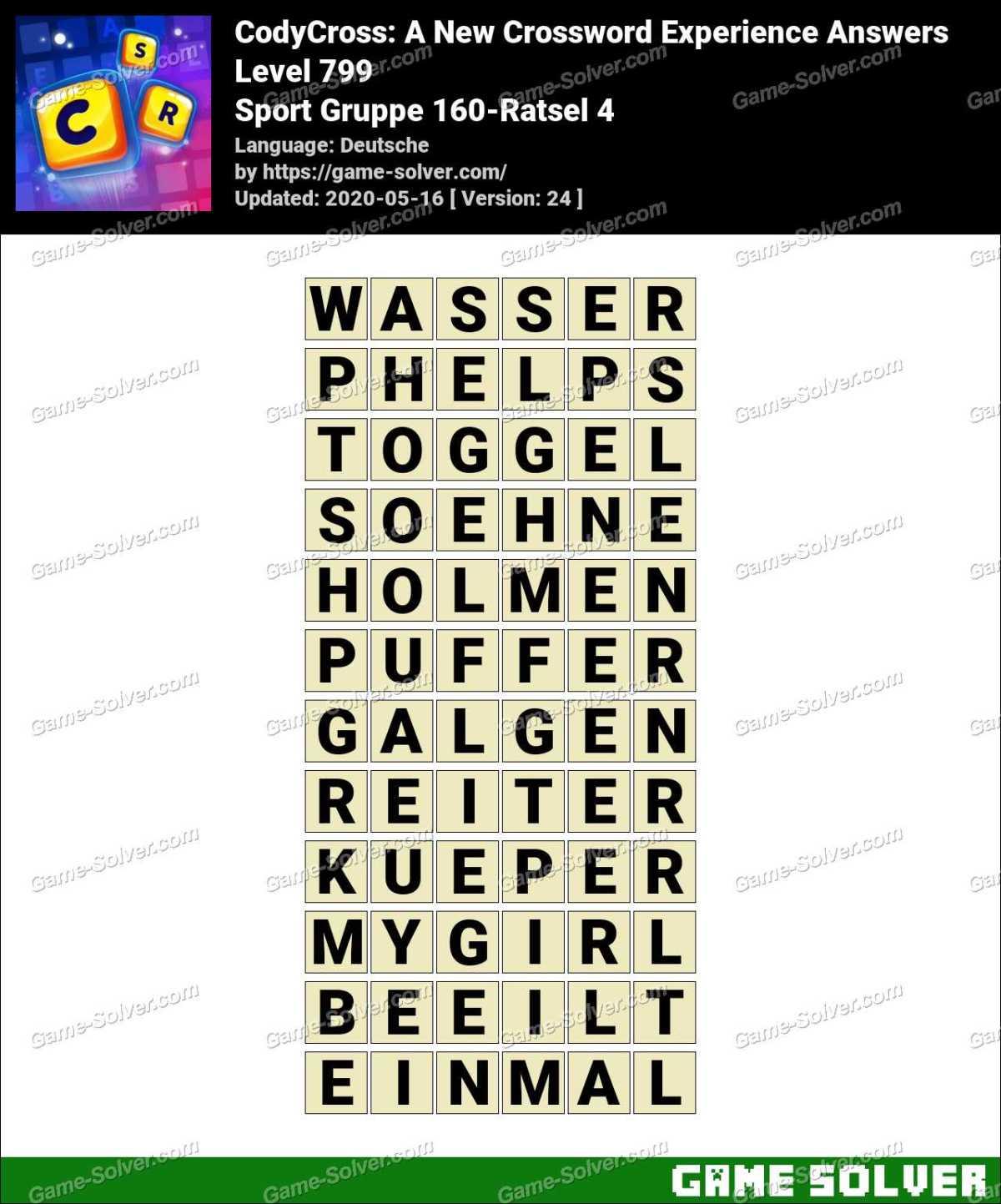 CodyCross Sport Gruppe 160-Ratsel 4 Lösungen