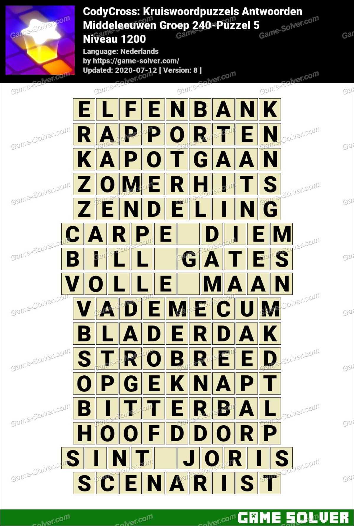 CodyCross Middeleeuwen Groep 240-Puzzel 5 Antwoorden