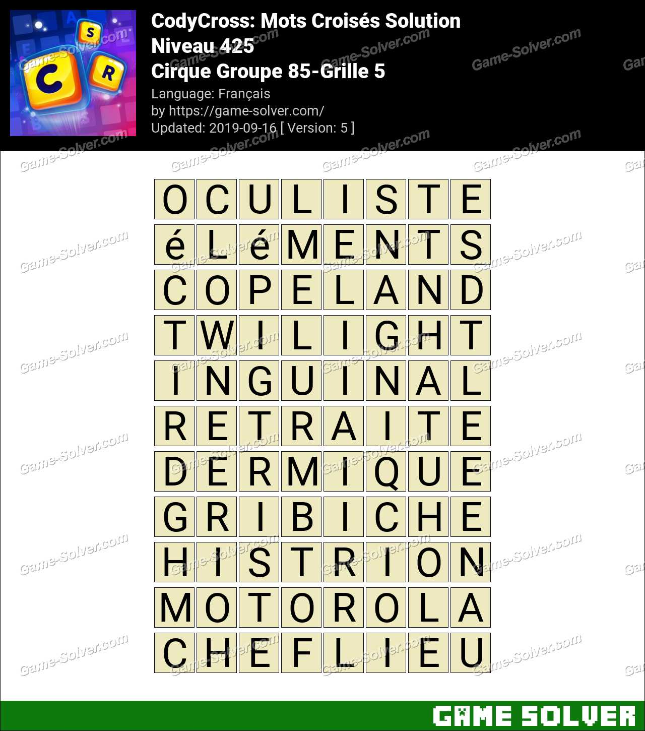 CodyCross Cirque Groupe 85-Grille 5 Solution