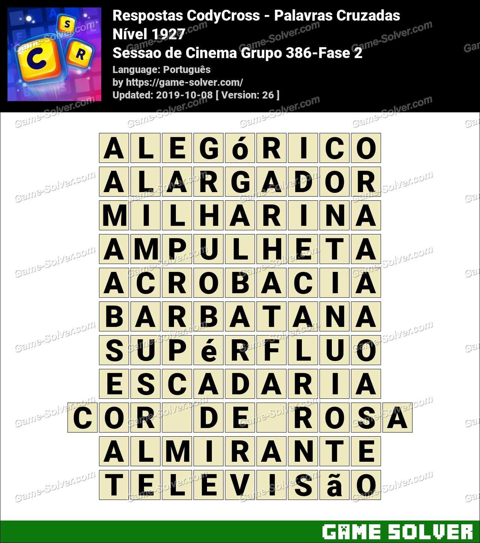 Respostas CodyCross Sessao de Cinema Grupo 386-Fase 2