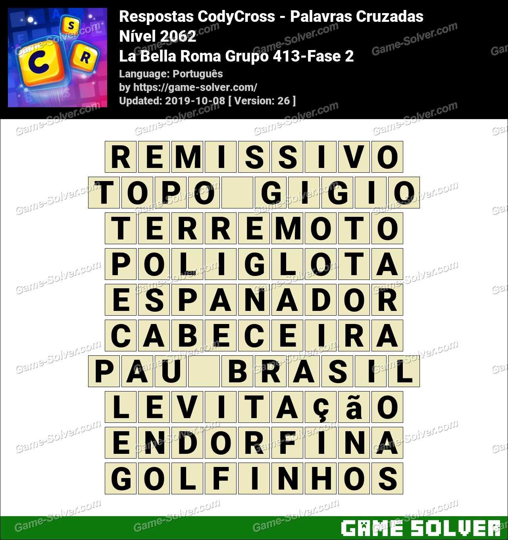 Respostas CodyCross La Bella Roma Grupo 413-Fase 2
