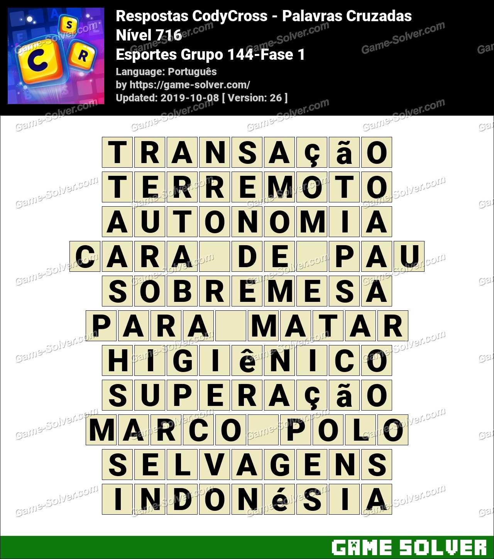 Respostas CodyCross Esportes Grupo 144-Fase 1